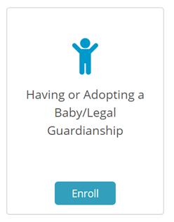 having or adopting a baby