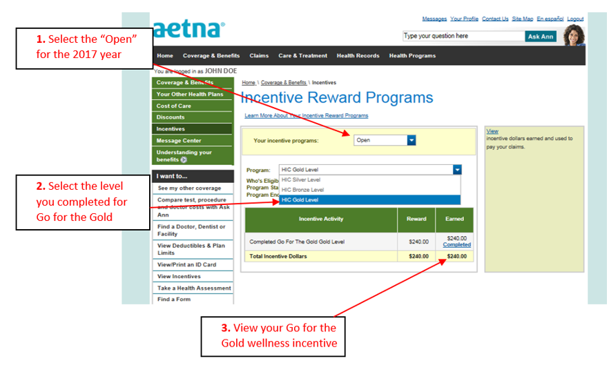 Aetna incentives page