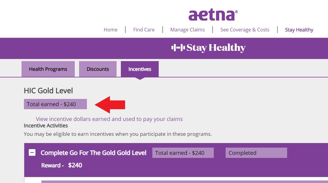 Check Your Wellness Credit Balance: Aetna | Benefits | Human