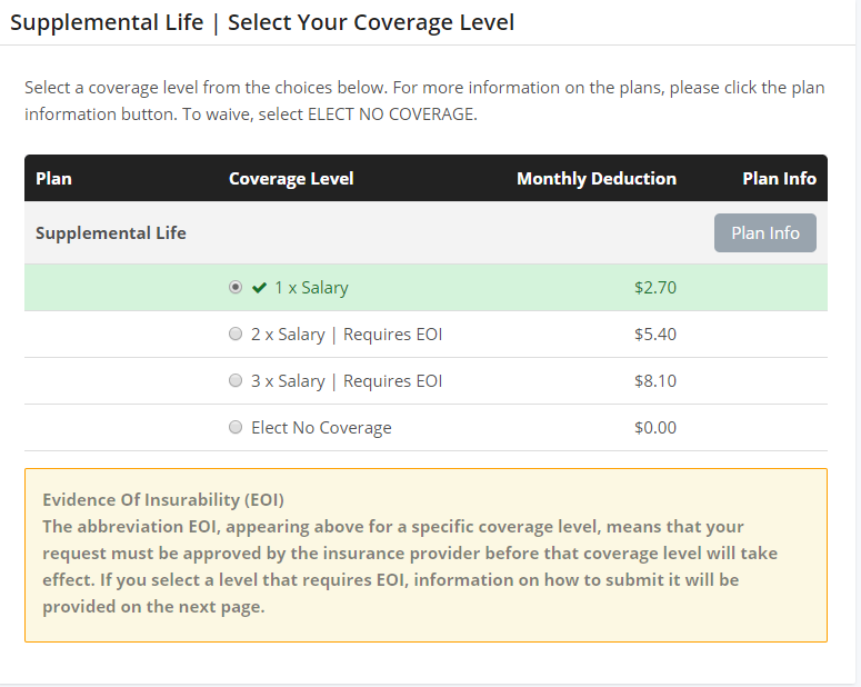 Select Supplemental Coverage