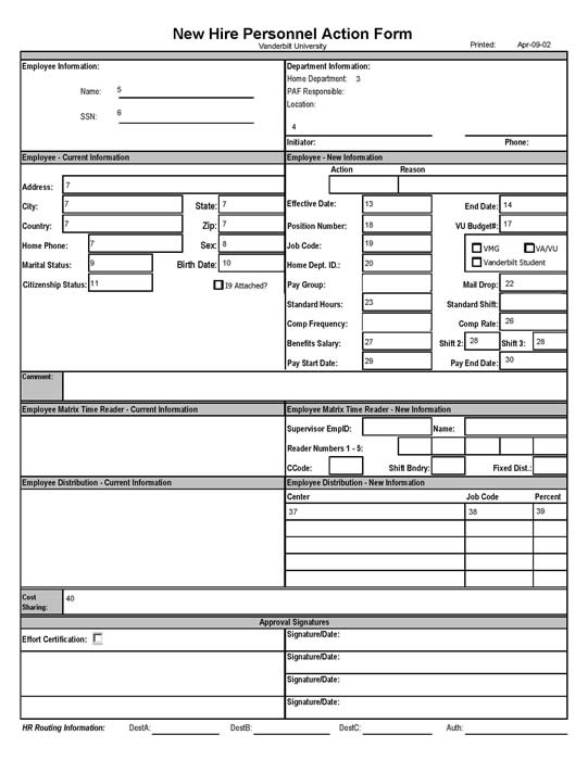 New hire personnel action form payroll hr compensation for Free human resources forms and templates