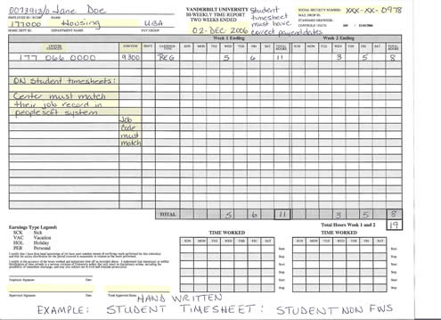 time sheets sample